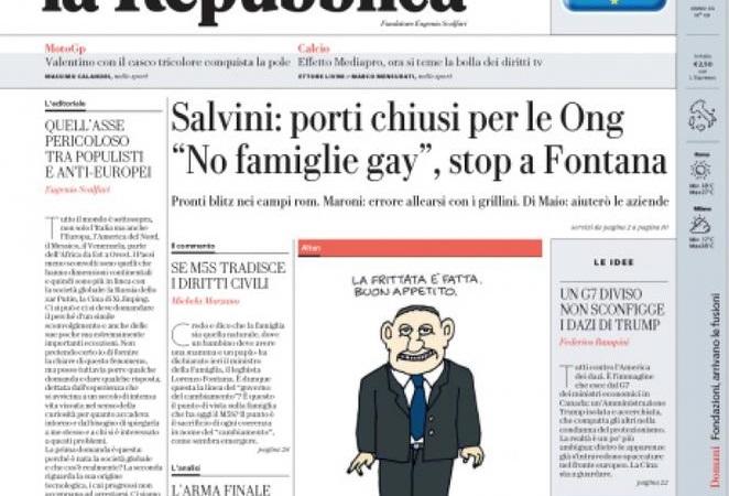 """Le prime pagine del 3 giugno 2018. Salvini, """"Per i clandestini è finita la pacchia"""""""