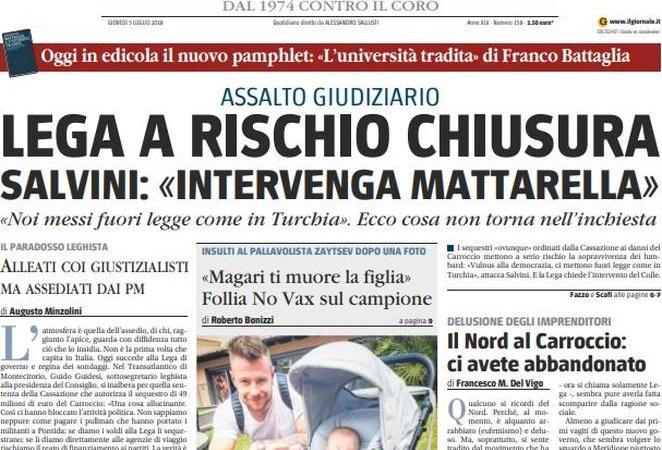 """Le prime pagine del 5 luglio 2018. Sentenza sui fondi del partito, Lega: """"Attacco alla democrazia"""""""