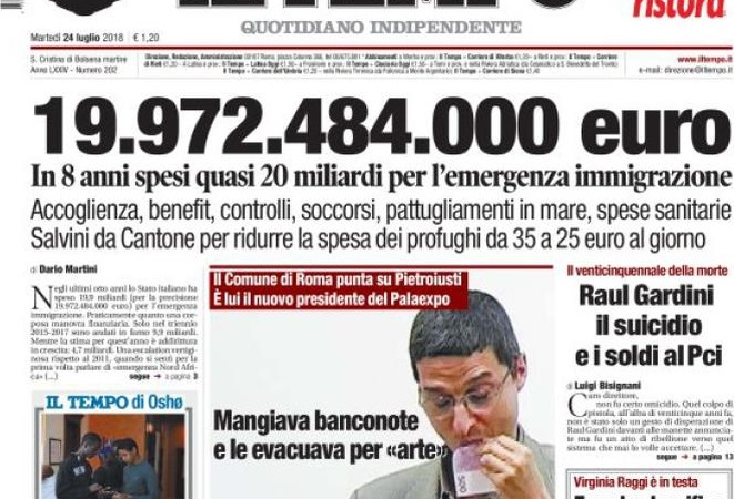 Le prime pagine del 24 luglio 2018. Salvini da Cantone per ridurre la spesa per i migranti