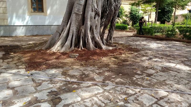 Monreale, i lavori in villa: riaffiora il vecchio basolato
