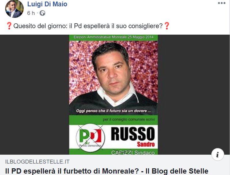 """Il ministro Di Maio interviene sul """"caso Russo"""": """"Il Pd deve espellere questo consigliere"""""""