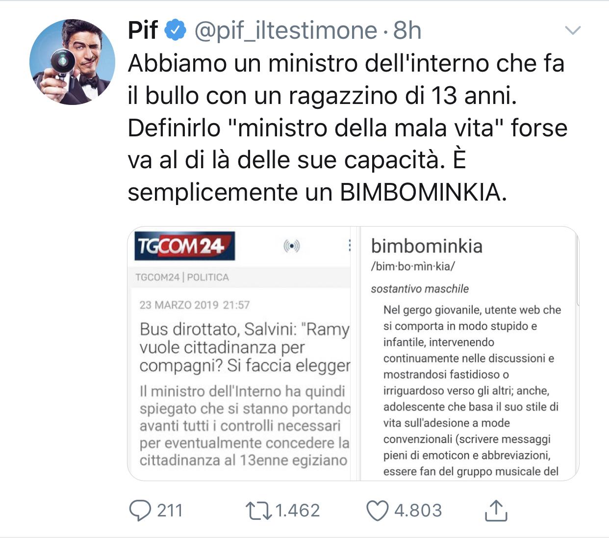 """Pif contro Salvini: """"Abbiamo un ministro bimbominkia"""""""