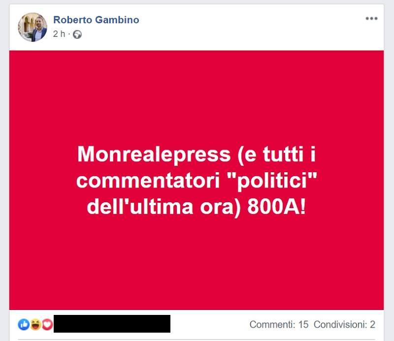 "Se Roberto Gambino ci dice ""Suca"""