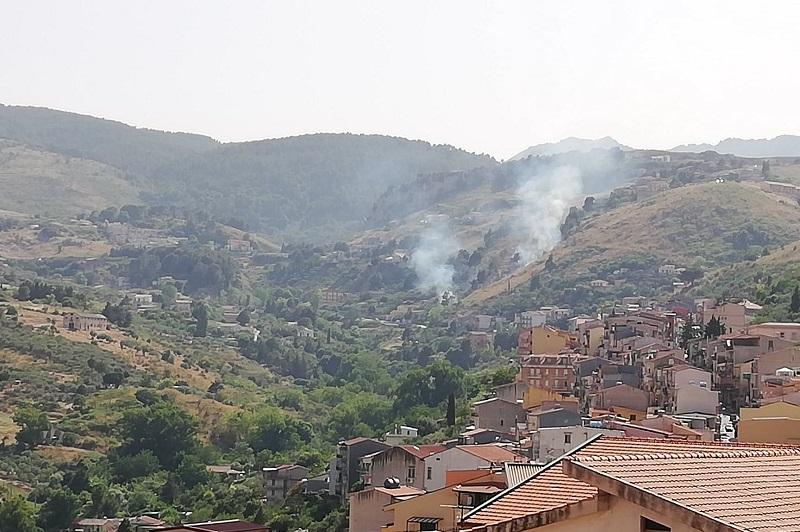 Incendio tra le colline di Pioppo, Forestale e Vigili del Fuoco al lavoro
