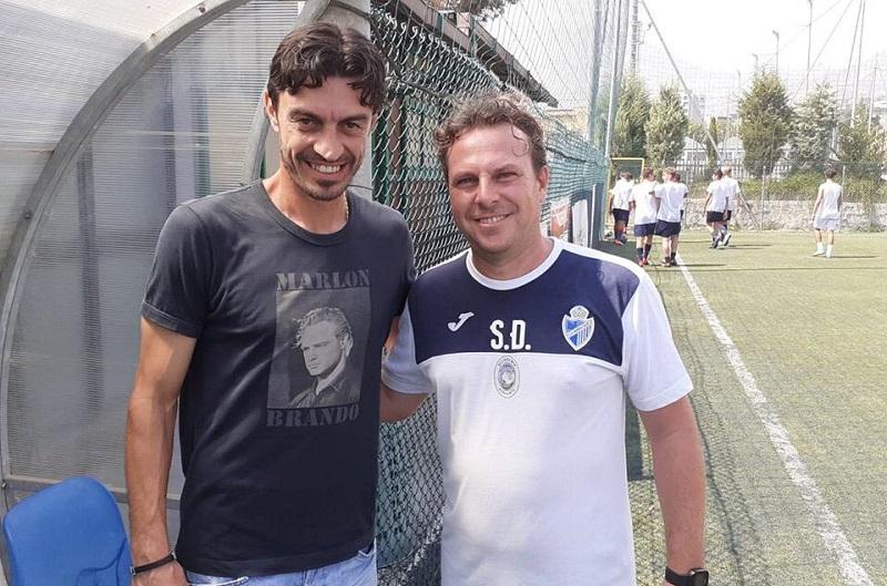 L'ex calciatore del Palermo Giuseppe Biava in visita al Monreale Calcio