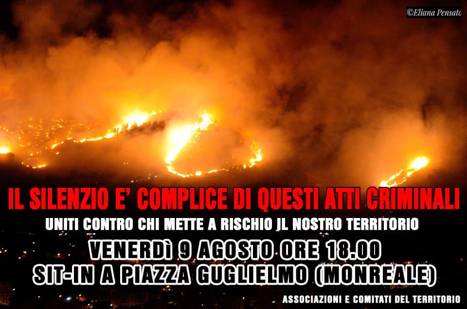 """Monreale, le associazioni scendono in piazza per dire """"basta"""" agli incendi"""