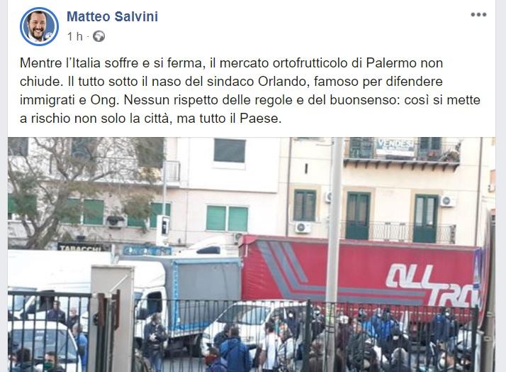 """Orlando a Salvini: """"Si vergogni. Basta patetica campagna elettorale"""""""