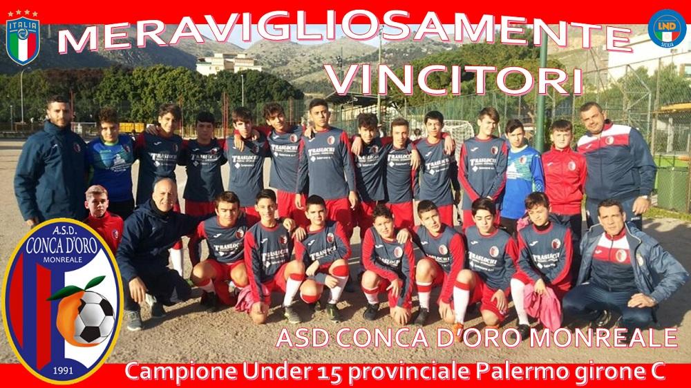 Gli Under 15 della Conca d'Oro Monreale promossi ai Regionali