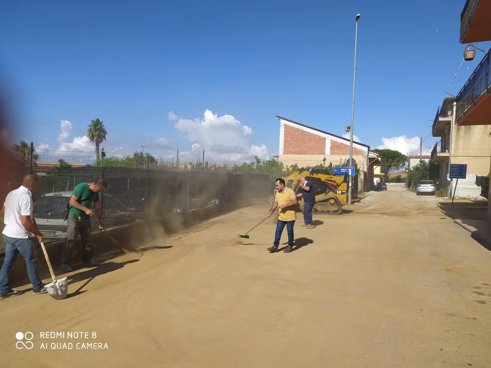 Il nubifragio a Grisì: iniziati i lavori di rimozione di fango e detriti